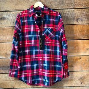 Plaid Button-Down Flannel Women's Top